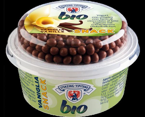 Joghurt Snack Vanille mit schokolierten Dinkelbällchen Bio - Milchhof Sterzing