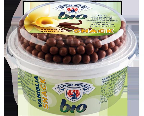 Yogurt snack alla vaniglia con crispies di farro al cioccolato Bio