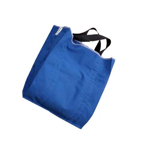 Stofftasche mit kurzen blauen Tragehenkeln