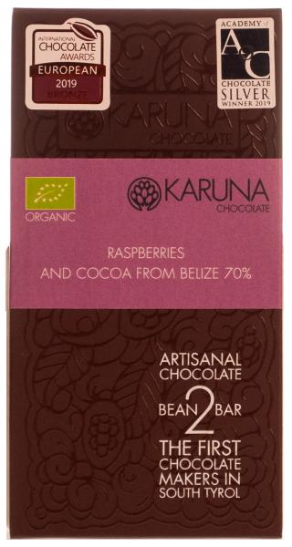 Cioccolato 70 % ai lamponi bio - Karuna