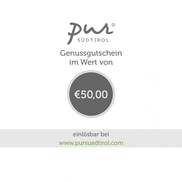 Buono online 50 € - Pur Südtirol