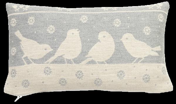 Cuscino decorativo con cirmolo motivo uccello - Südtiroler Bergwiesenheu des Walter Moosmair