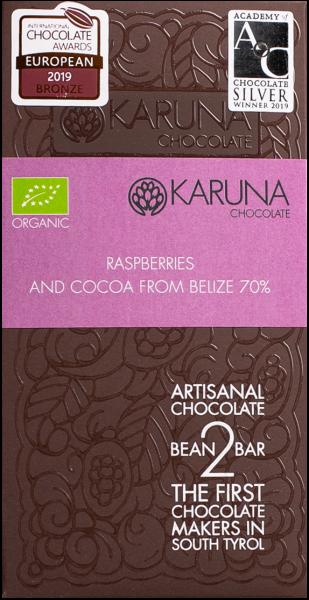 Schokolade 70 % mit Himbeere Bio - Karuna